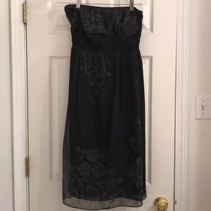 Limited black and dark gray silk strapless dress